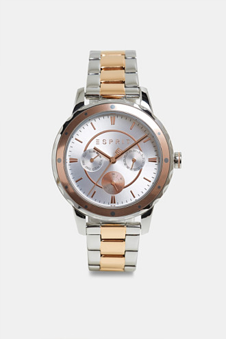 Two-tone multi-functional watch with a link strap