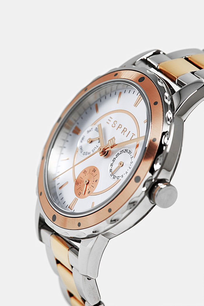 Two-tone multi-functional watch with a link strap, ROSEGOLD, detail image number 1