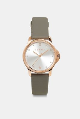 Stainless-steel watch with a leather strap, SILVER, detail