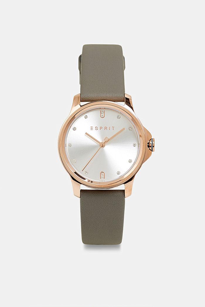 Edelstahl-Uhr mit Leder-Armband, SILVER, detail image number 0