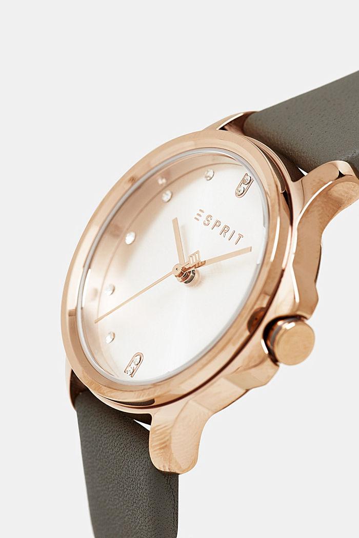 Edelstahl-Uhr mit Leder-Armband, SILVER, detail image number 1