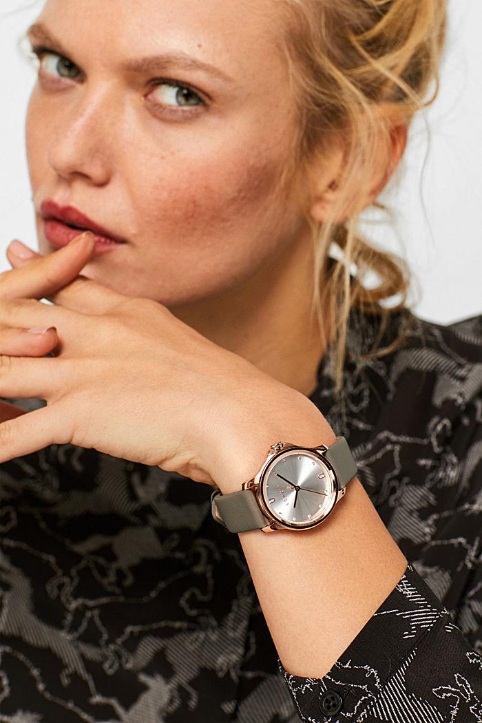 Edelstahl-Uhr mit Leder-Armband, SILVER, detail image number 2