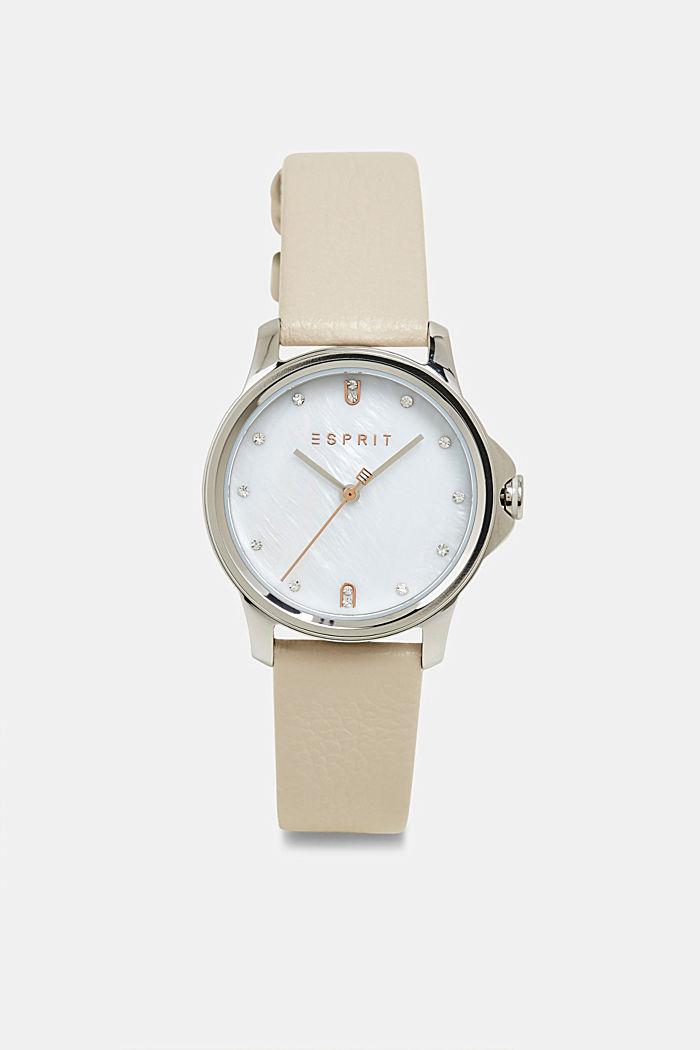 Edelstahl-Uhr mit Leder-Armband, WHITE, detail image number 0