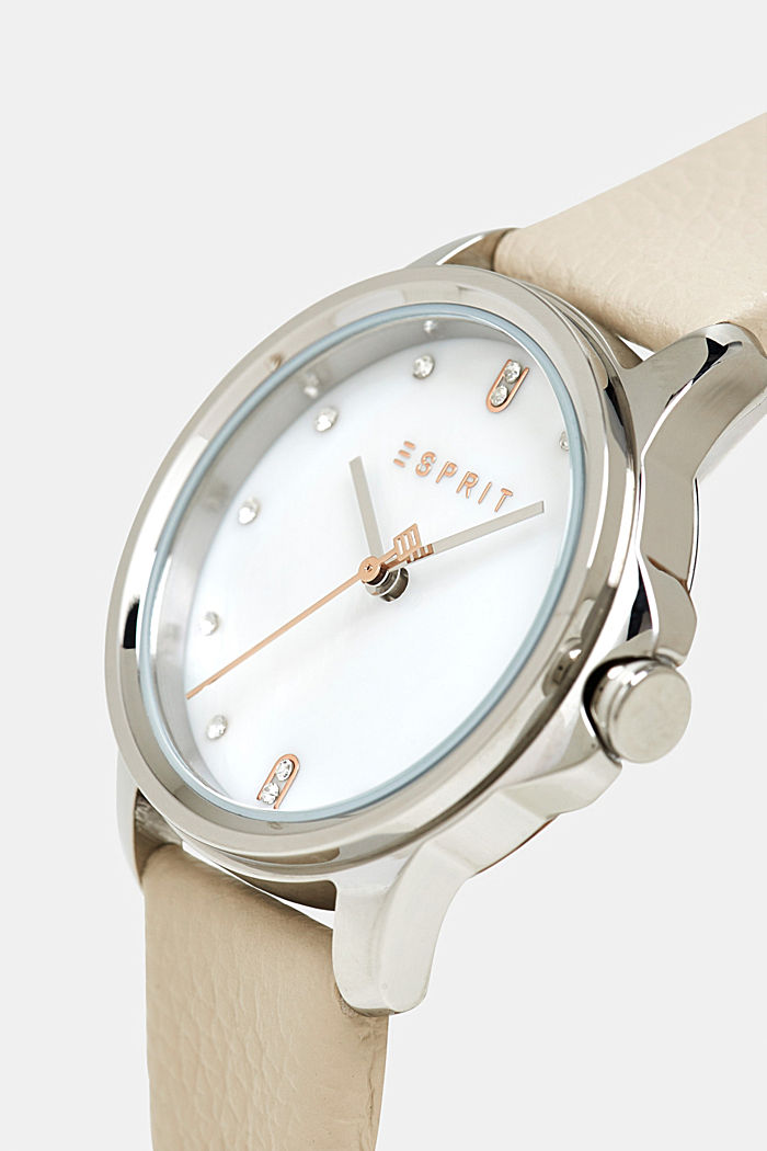 Edelstahl-Uhr mit Leder-Armband, WHITE, detail image number 1