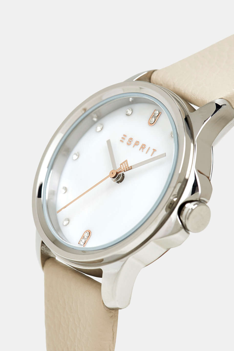 Stainless-steel watch with a leather strap, WHITE, detail image number 1