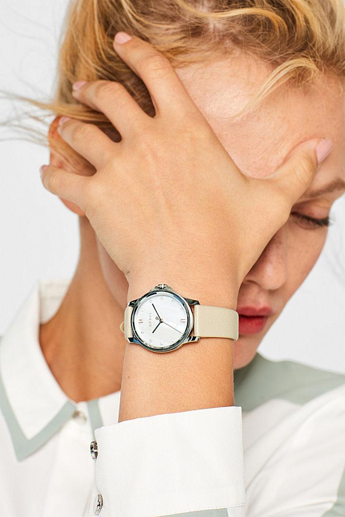 Edelstahl-Uhr mit Leder-Armband, WHITE, detail image number 2