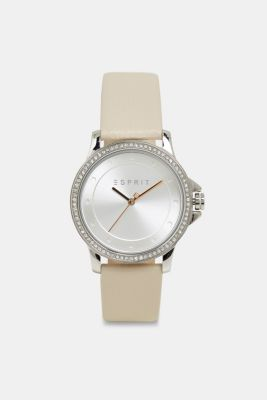 Stainless-steel watch with zirconia and leather strap, BEIGE, detail