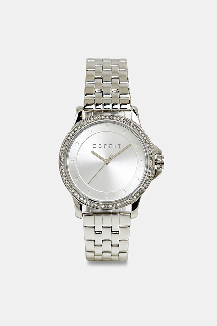 Stainless steel watch with zirconia, SILVER, detail image number 0