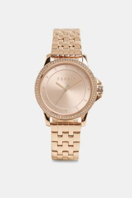 Stainless steel watch with zirconia, ROSEGOLD, detail