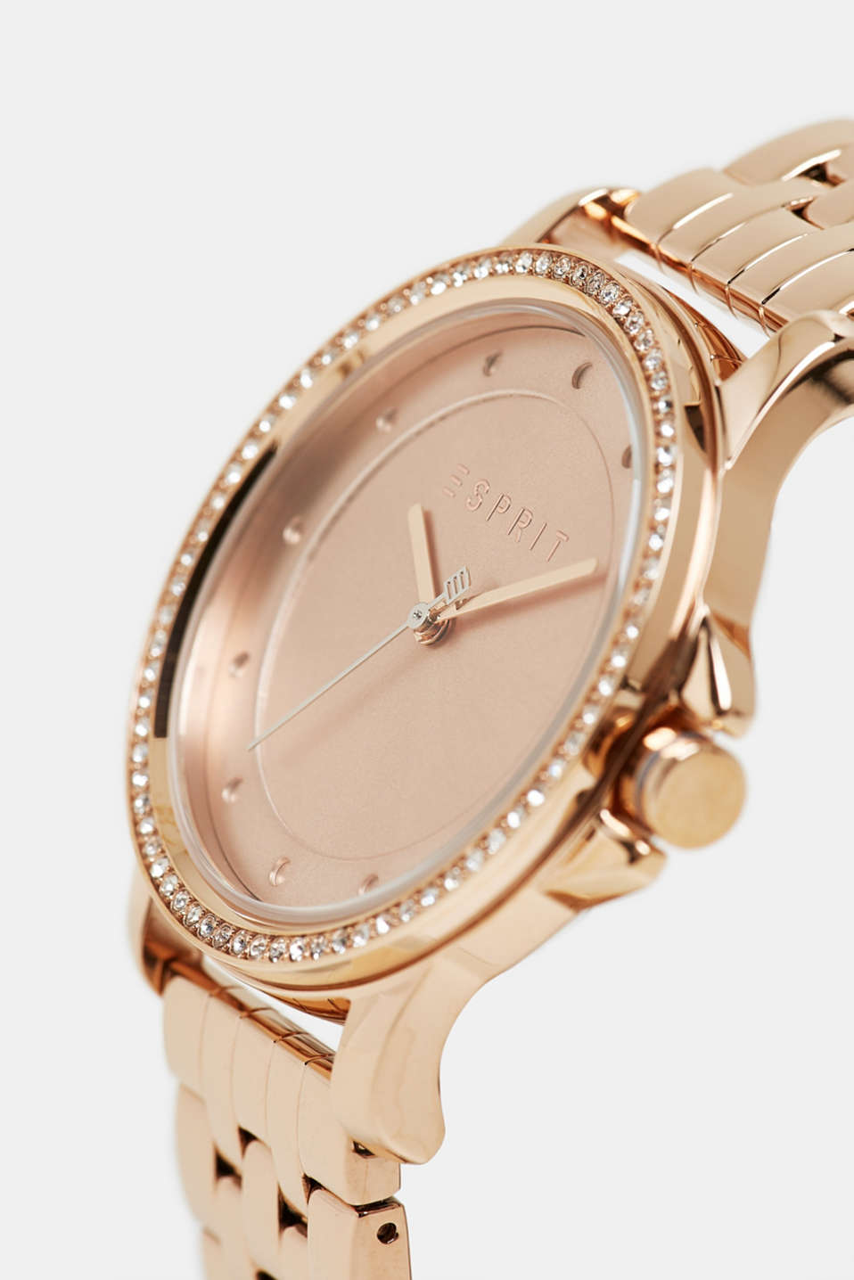 Stainless steel watch with zirconia, ROSEGOLD, detail image number 1