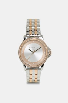 Stainless steel watch with zirconia, SILVER, detail