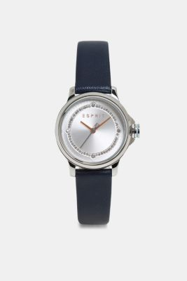 Stainless steel watch with zirconia, BLUE, detail