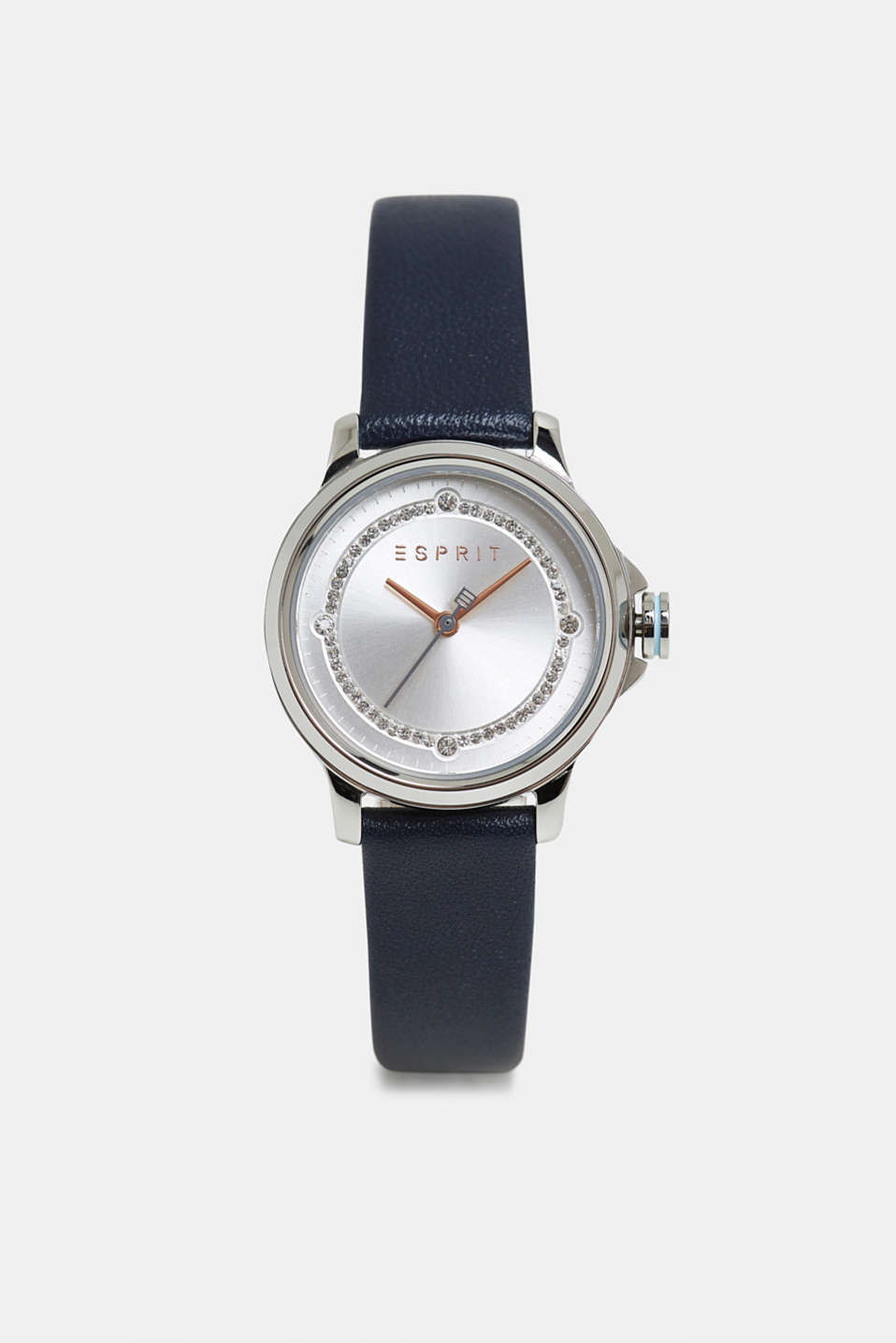 Stainless steel watch with zirconia, BLUE, detail image number 0