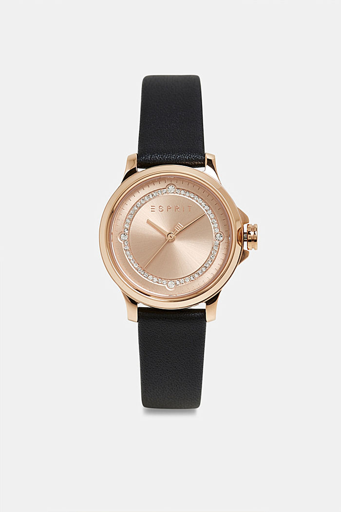 Edelstalen horloge met beleg van zirkonia