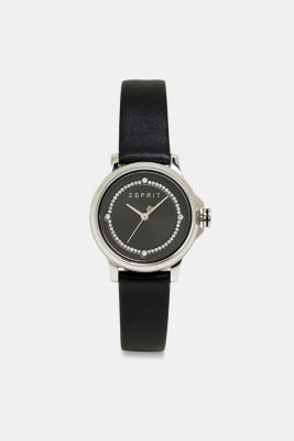 Stainless steel watch with zirconia, BLACK, detail