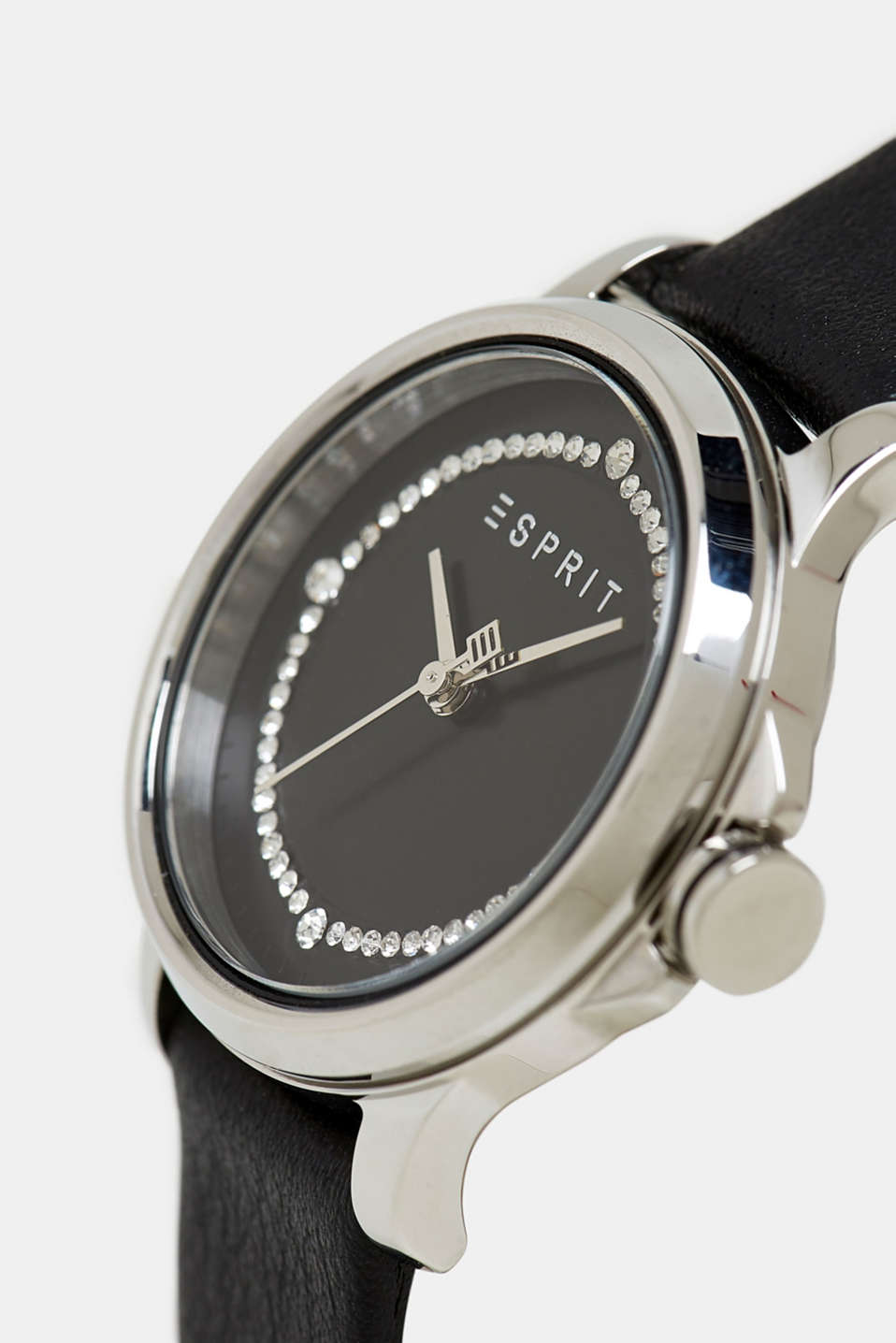 Stainless steel watch with zirconia, BLACK, detail image number 1