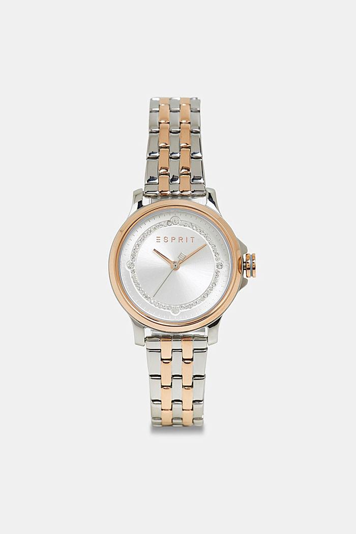 Edelstalen horloge met een kleurenmix en zirkonia