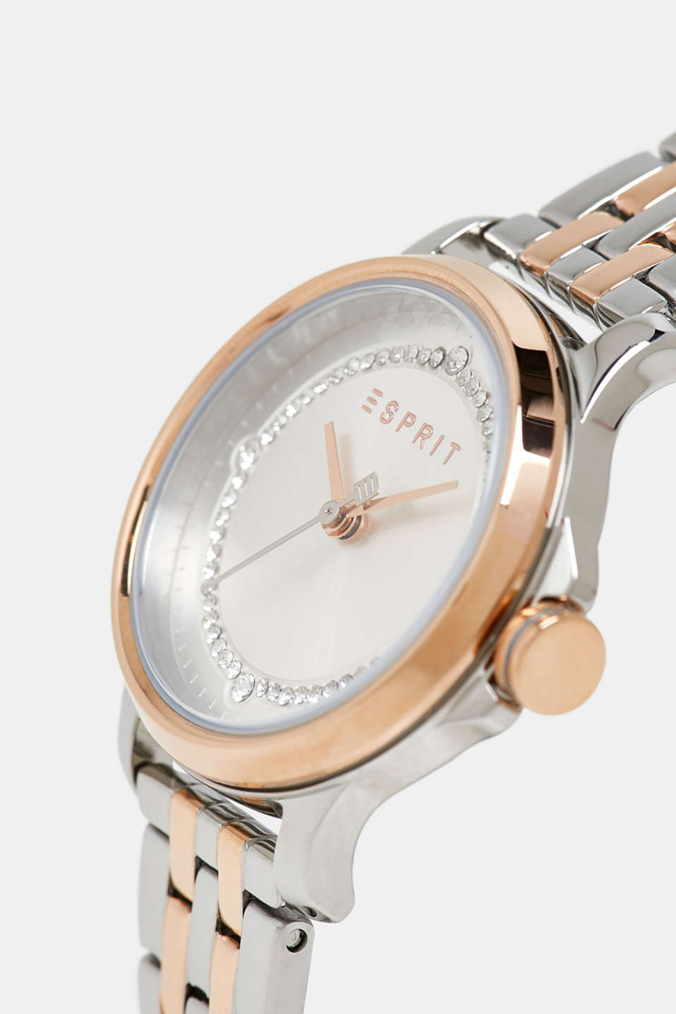 Stainless steel watch with a mix of colours and zirconia, ROSEGOLD, detail image number 1