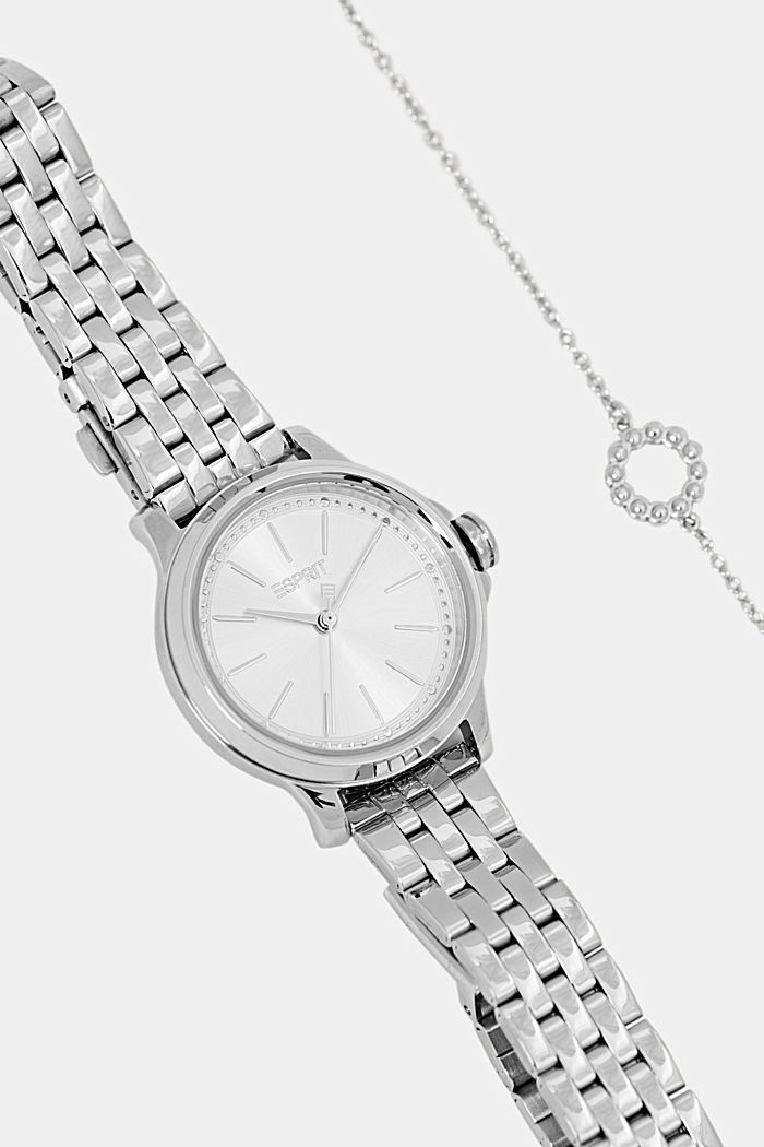 Set comprising watch and bracelet, stainless steel