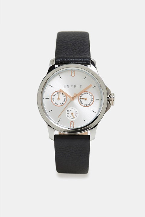 Multi-functional watch with a leather strap