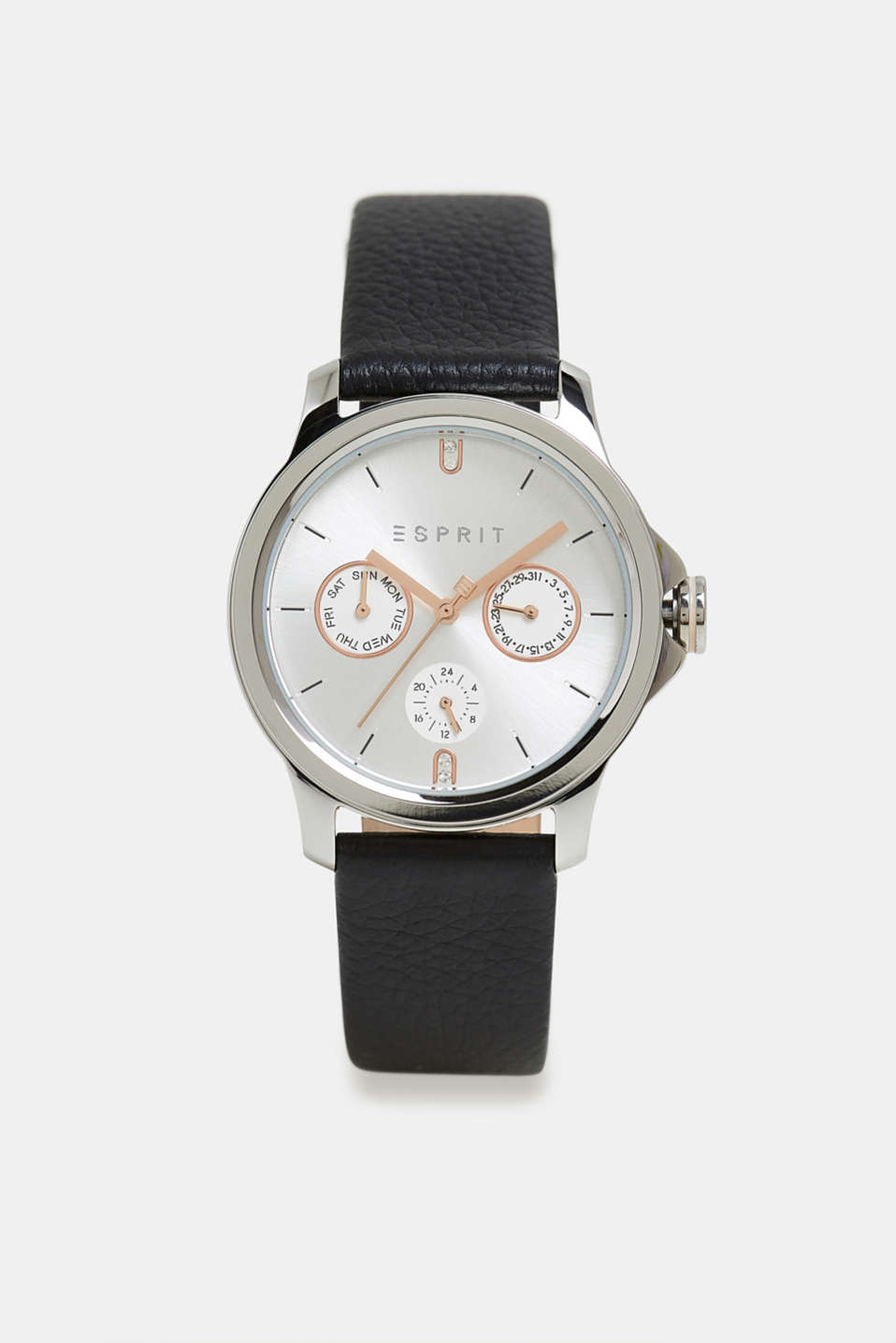 Esprit - Multi-functional watch with a leather strap