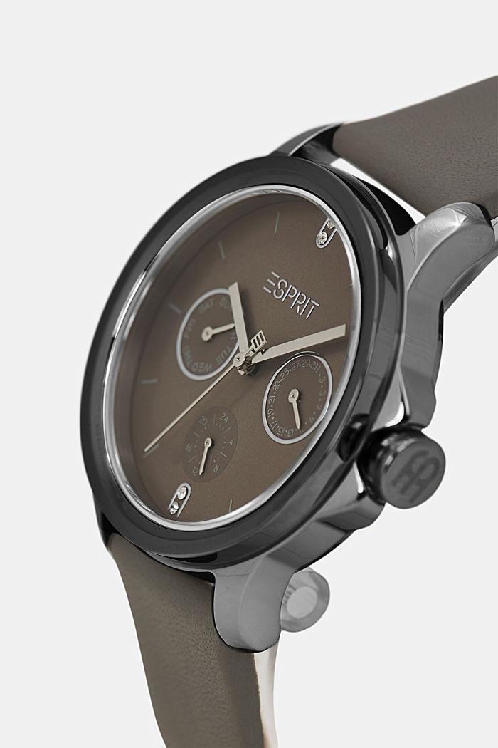 Multifunctioneel horloge met leren bandje, GREY, detail image number 1