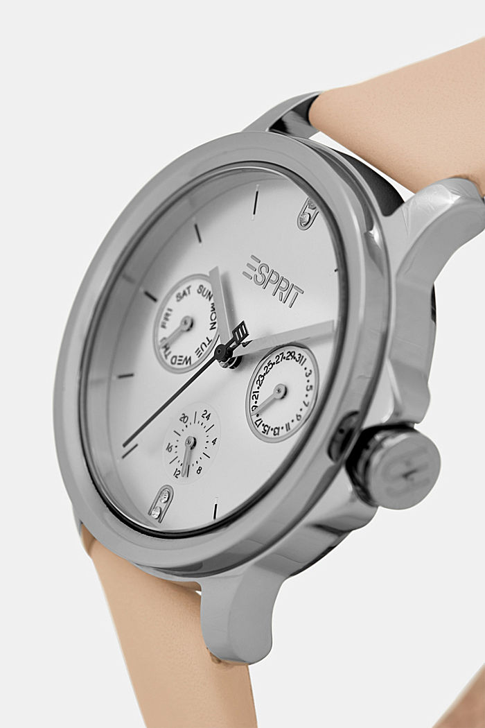 Multi-functional watch with a leather strap, BEIGE, detail image number 1