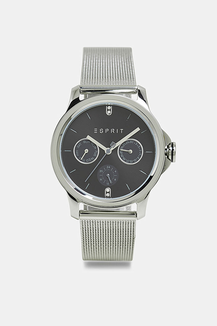 Stainless steel watch with a mesh strap