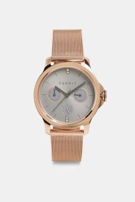 Stainless steel watch with a mesh strap, ROSEGOLD, detail