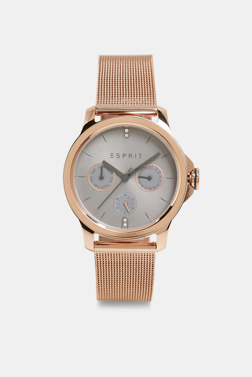 Stainless steel watch with a mesh strap, ROSEGOLD, detail image number 0