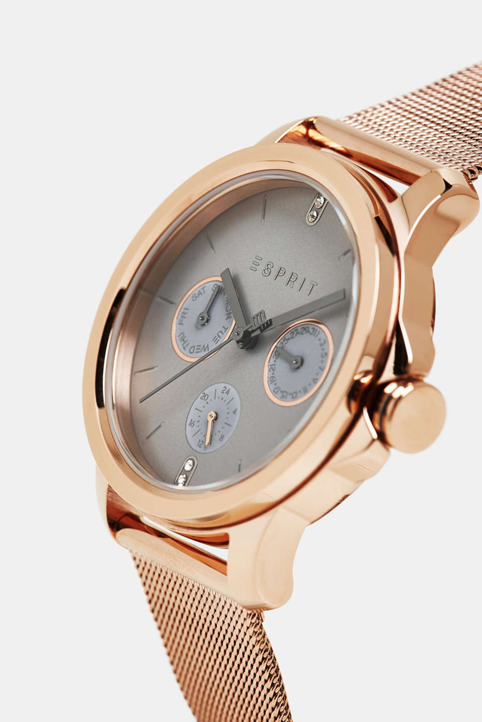 Stainless steel watch with a mesh strap, ROSEGOLD, detail image number 1
