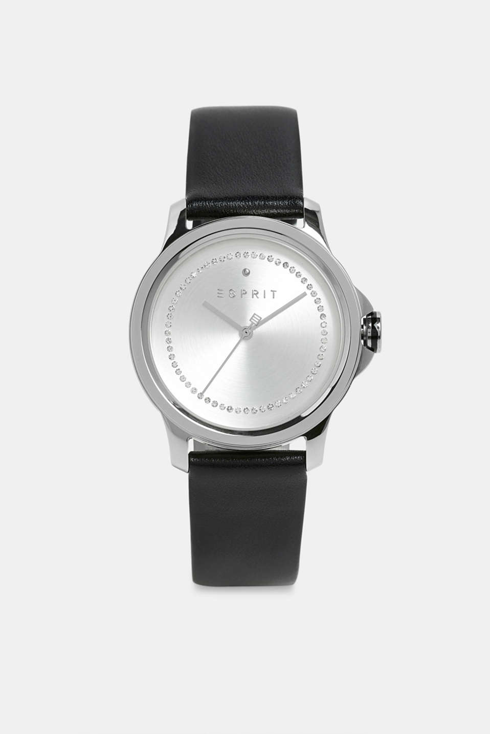 Stainless steel watch with zirconia, BLACK, detail image number 0