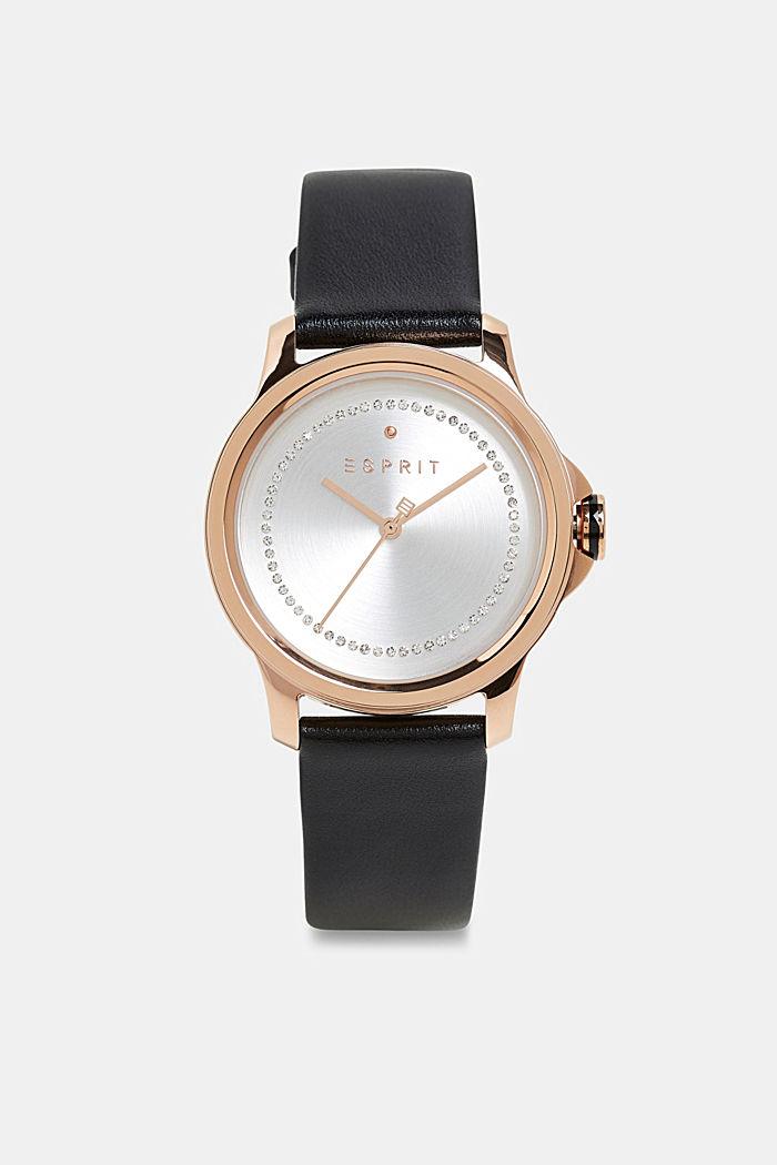 Edelstahl-Uhr mit Zirkonia und Leder-Armband