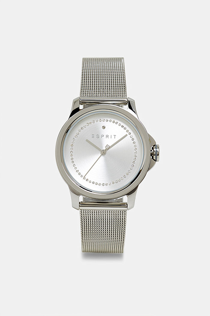 Stainless steel watch with a mesh strap and zirconia