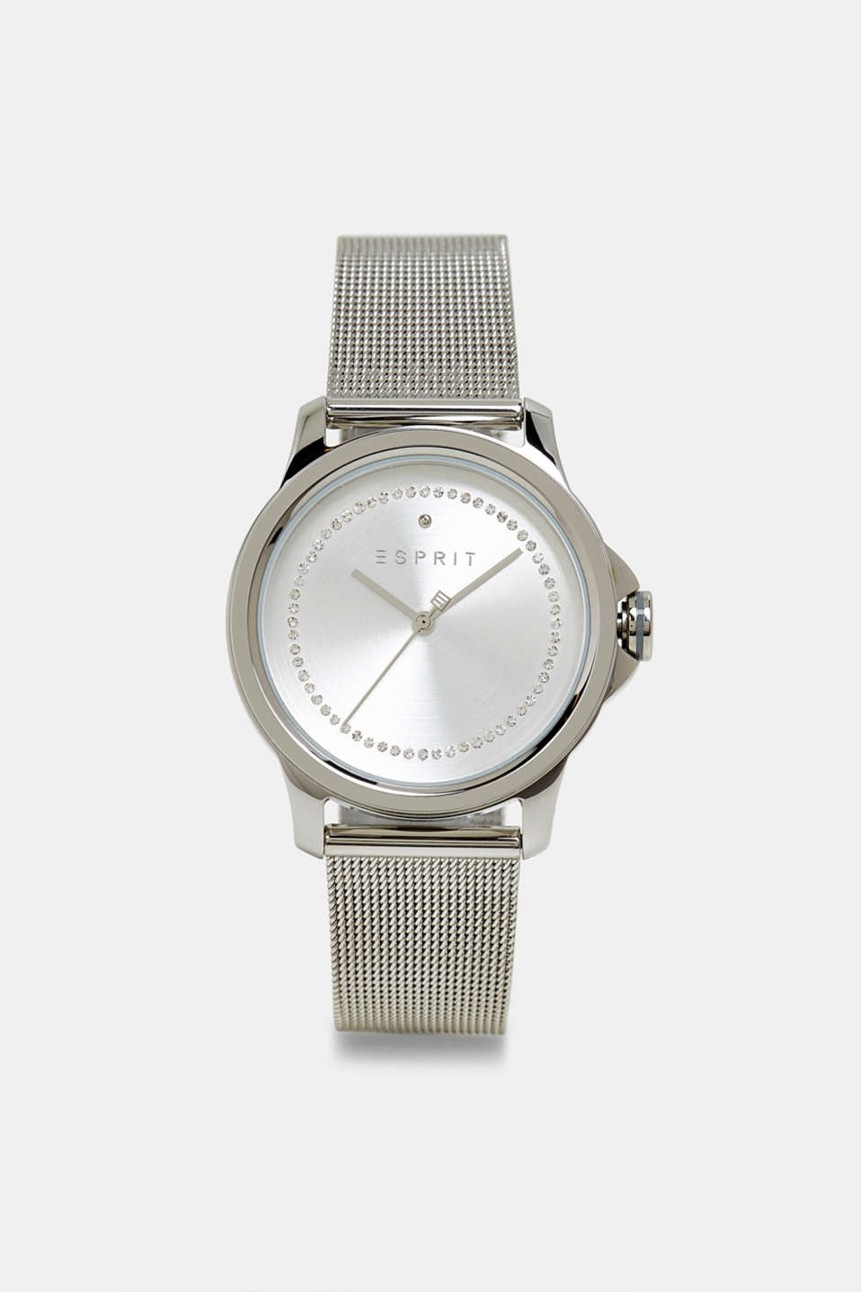 Stainless steel watch with a mesh strap and zirconia, SILVER, detail image number 0