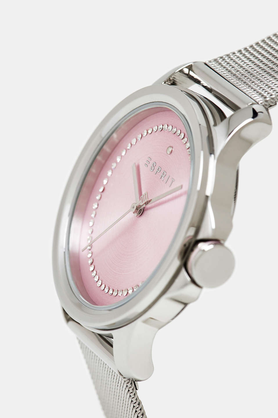 Stainless steel watch with a mesh strap and zirconia, SILVER, detail image number 1