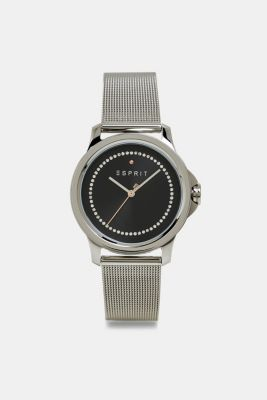 Stainless steel watch with a mesh strap and zirconia, SILVER, detail