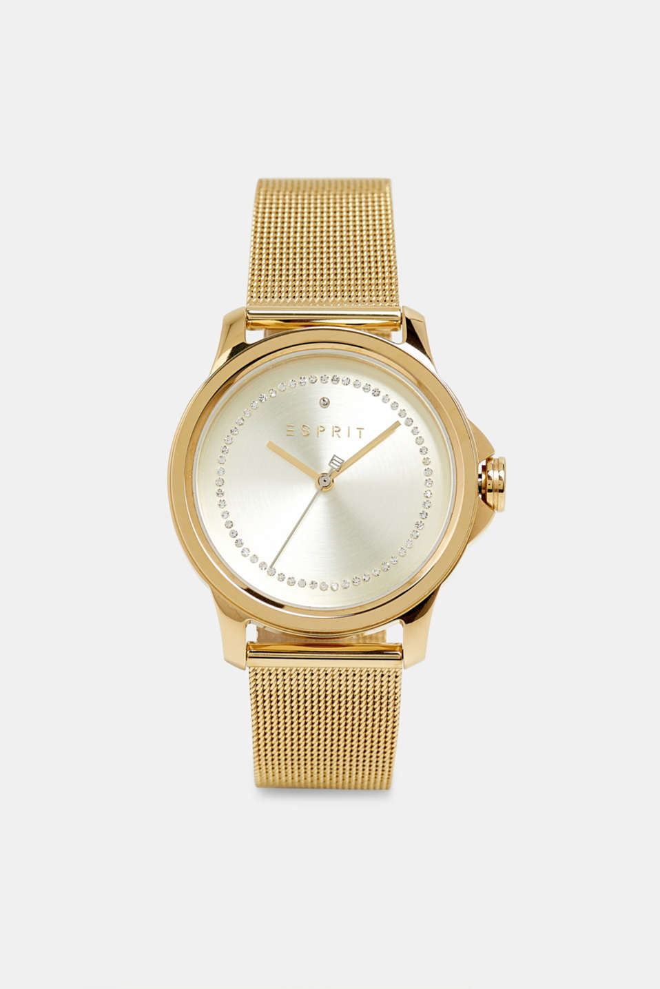 Stainless steel watch with a mesh strap, GOLD, detail image number 0