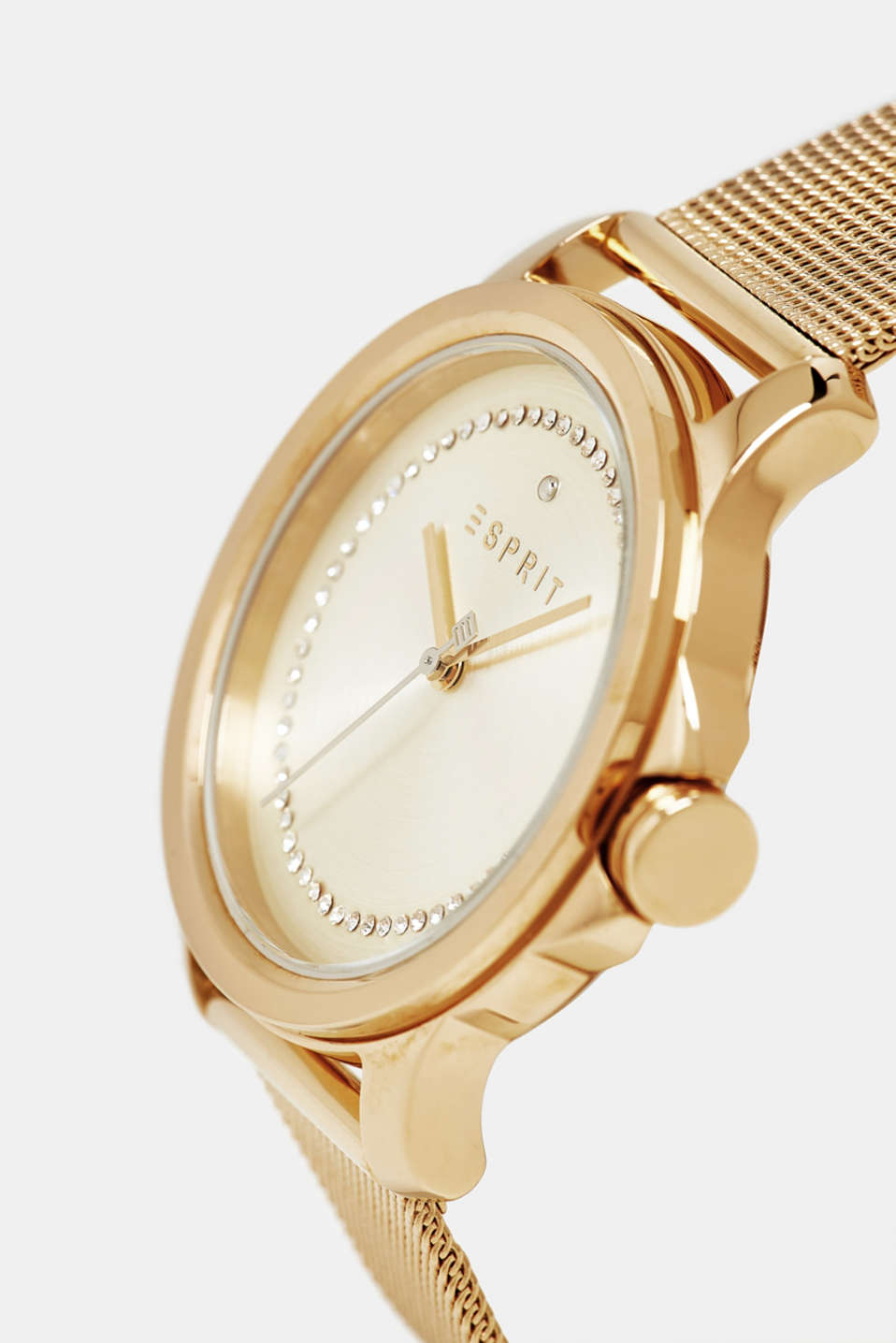 Stainless steel watch with a mesh strap, GOLD, detail image number 1