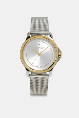 Stainless-steel watch with zirconia and a mesh strap, SILVER, detail