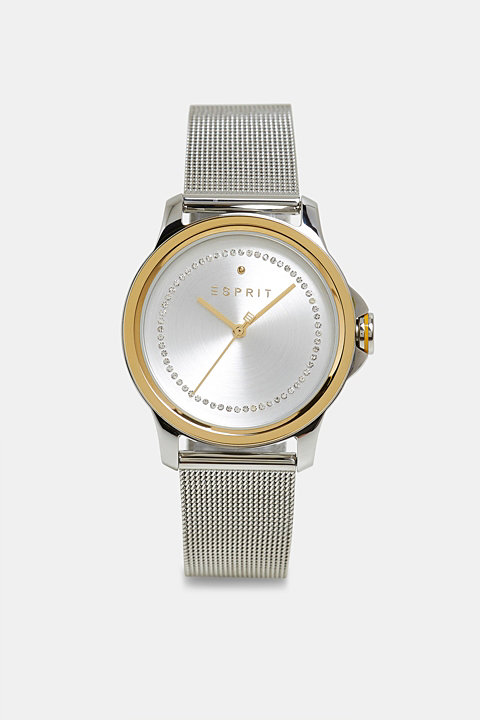 Stainless-steel watch with zirconia and a mesh strap