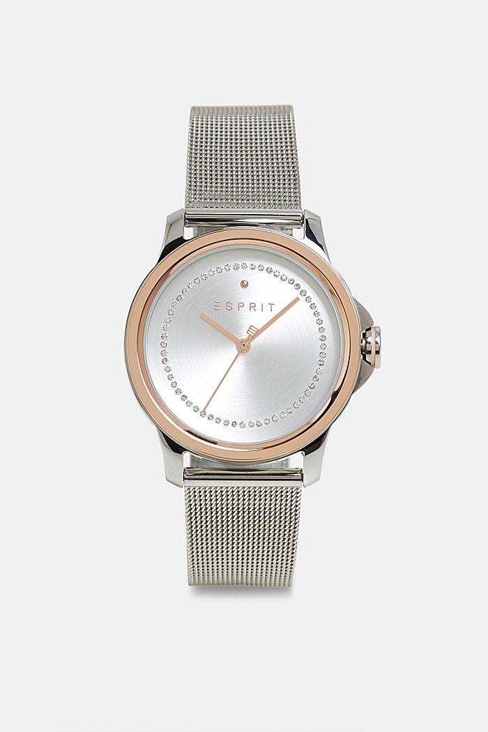 Edelstahl-Uhr mit Zirkonia und Mesh-Armband