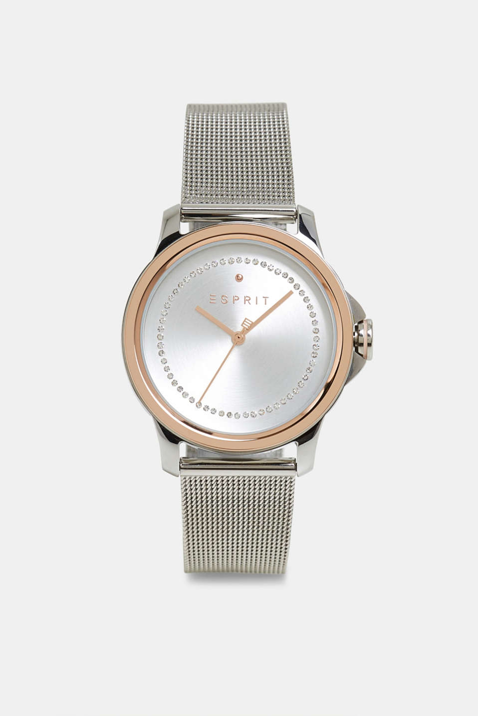 Stainless-steel watch with zirconia and a mesh strap, SILVER, detail image number 0