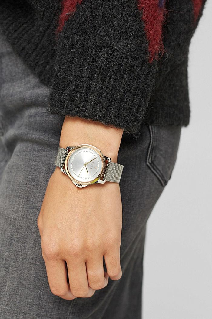 Reloj de acero inoxidable con circonita y pulsera de malla, SILVER, detail image number 2