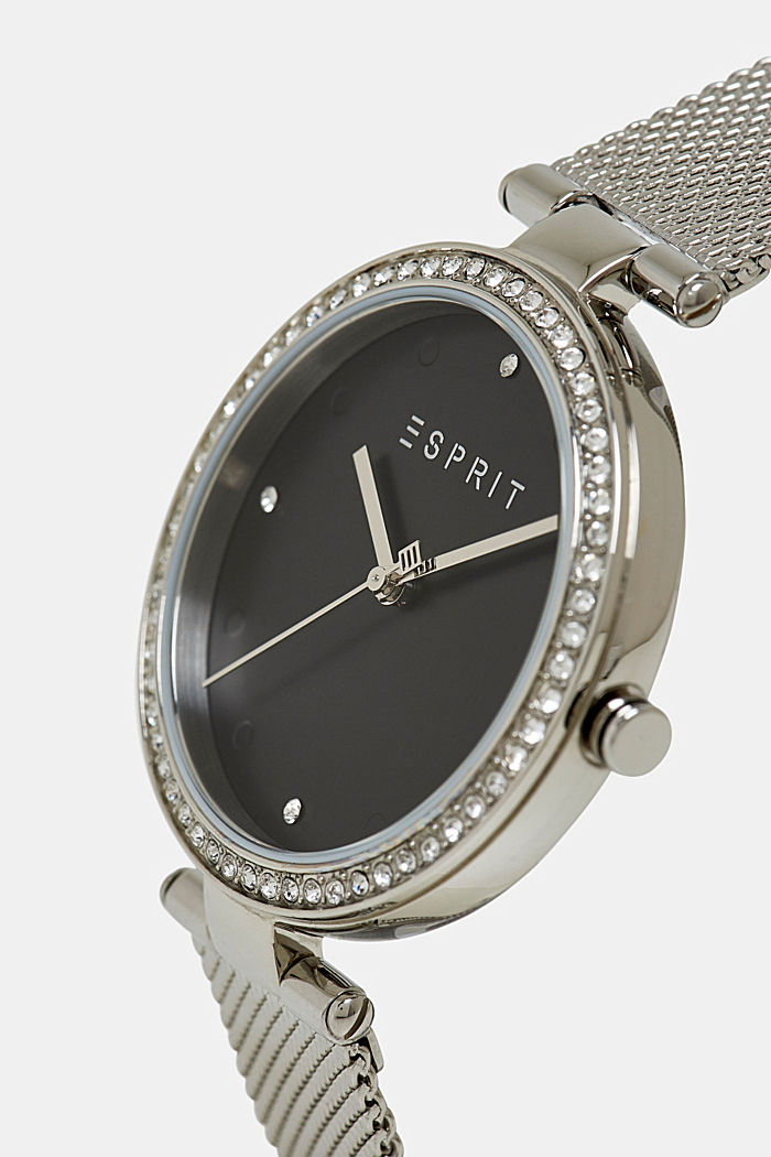 Stainless-steel watch with zirconia and a mesh strap, SILVER, detail image number 1