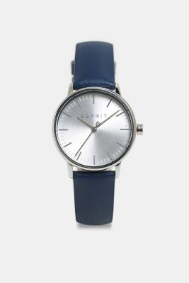 Stainless-steel watch with a leather strap, BLUE, detail