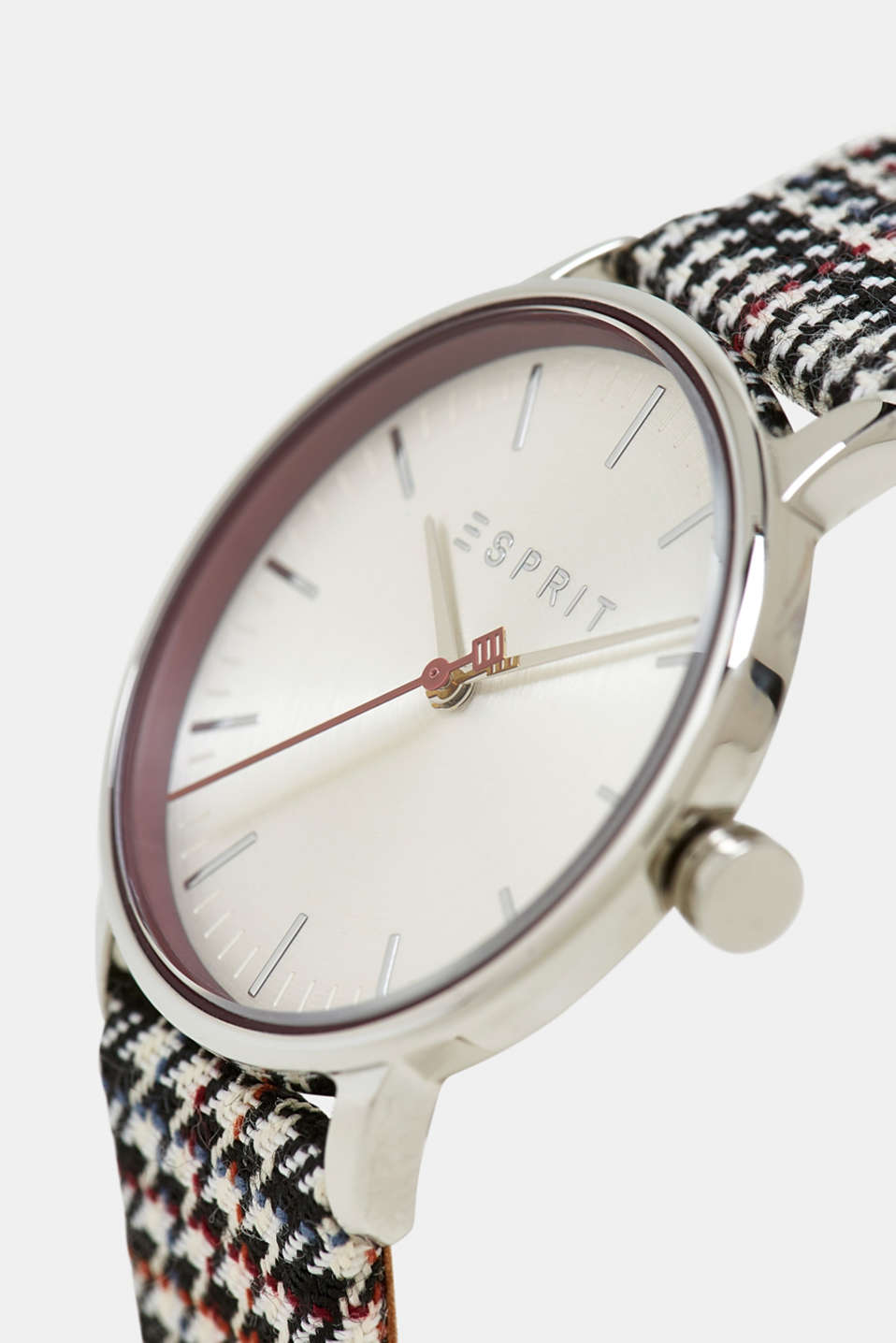 Stainless steel watch with a textile strap, BLACK, detail image number 1