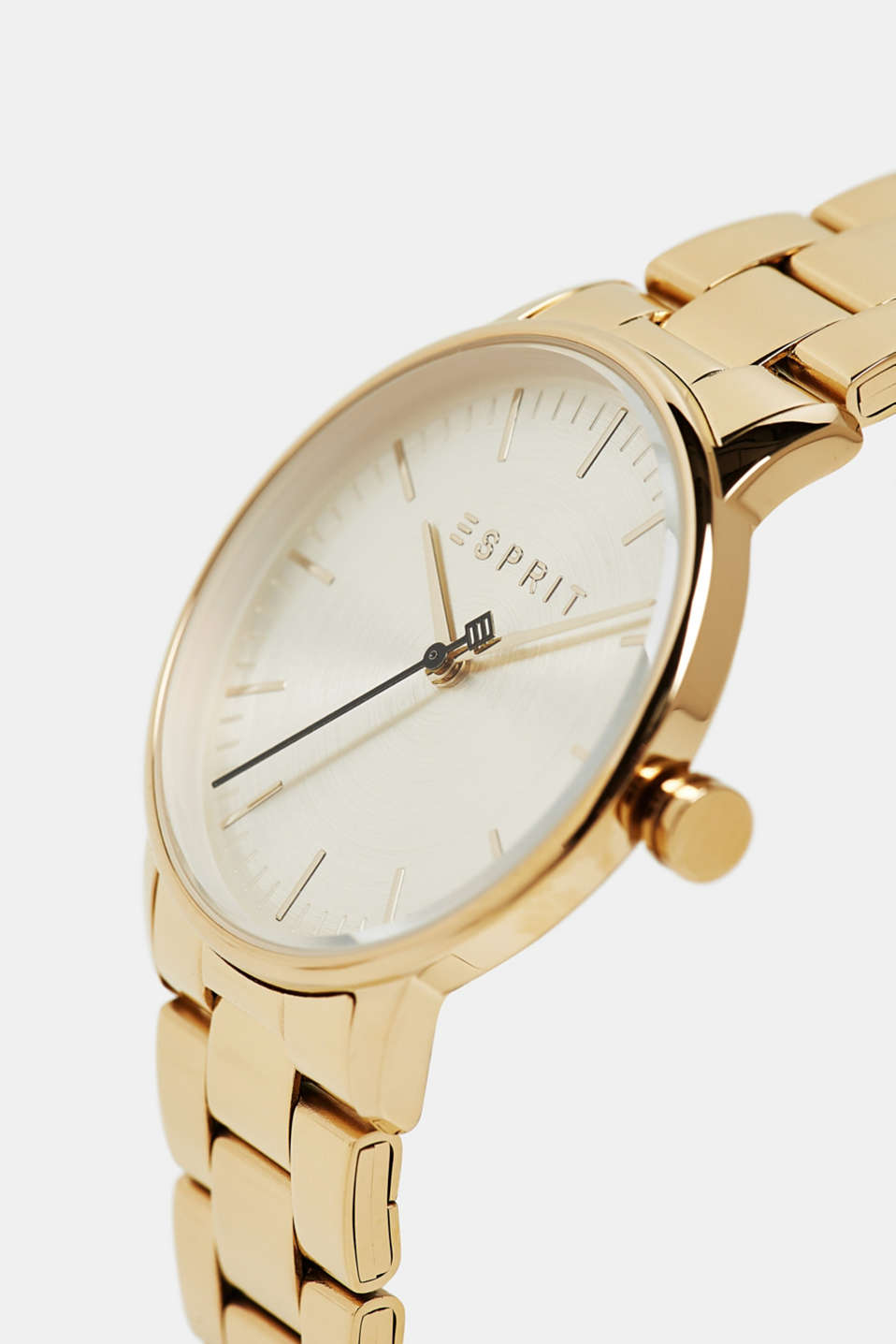Stainless-steel watch with link bracelet, GOLD, detail image number 1