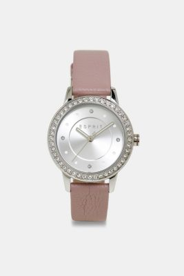Stainless-steel watch with zirconia and leather strap, PURPLE, detail