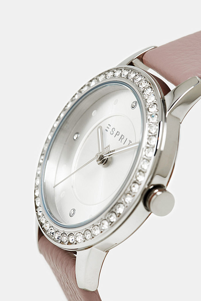 Stainless-steel watch with zirconia and leather strap, PURPLE, detail image number 1